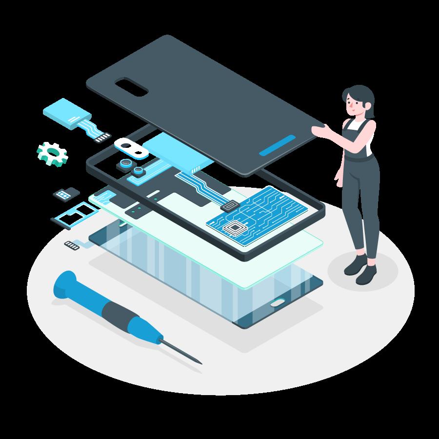 mediatech riparazione cellulari, tablet e PC illustrazione