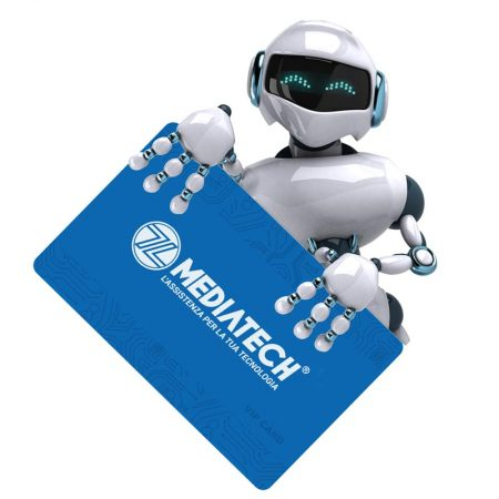 Robot che tiene Carta Fidelity Mediatech